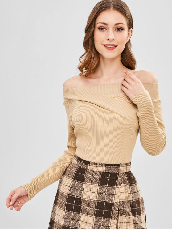 shop Ribbed Off Shoulder Sweater - TAN ONE SIZE