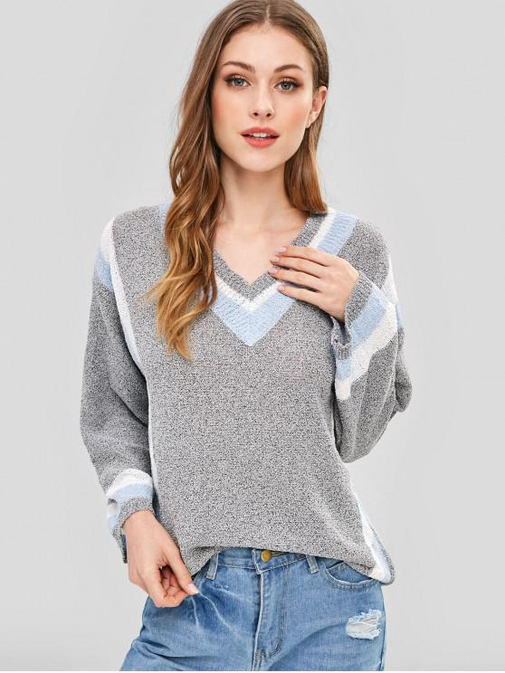 shops Striped V Neck Drop Shoulder Preppy Sweater - GRAY CLOUD ONE SIZE