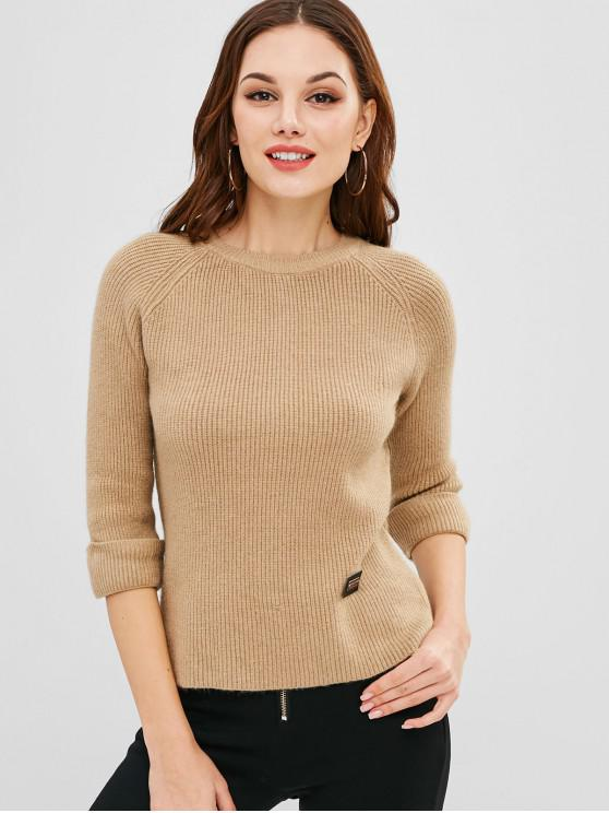 latest Turned Up Wide Raglan Sleeve Sweater - CAMEL BROWN ONE SIZE