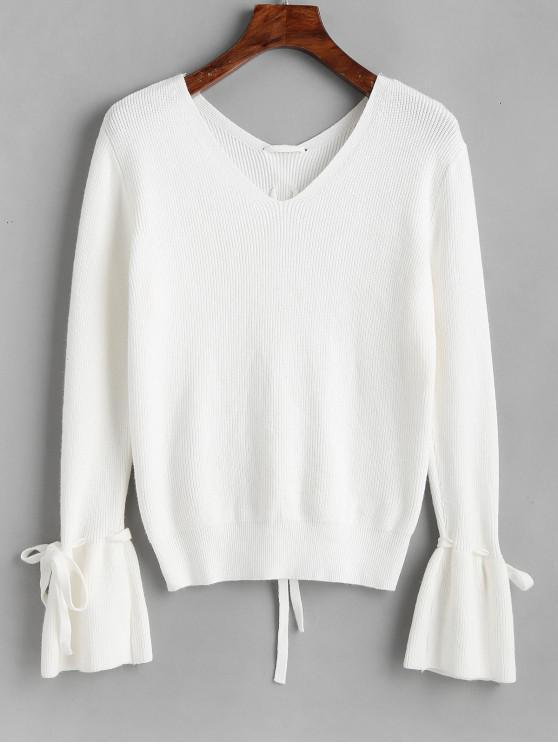 trendy Flare Sleeve V Neck Lace Up Sweater - WHITE ONE SIZE