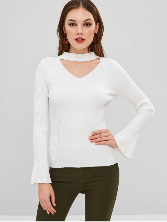 chic Cut Out Ribbed Bell Cuffs Choker Sweater - WHITE ONE SIZE