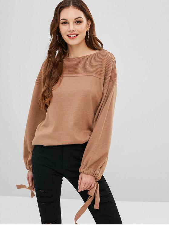 unique Tie Blouson Sleeve Boat Neck Sweater - LIGHT BROWN ONE SIZE