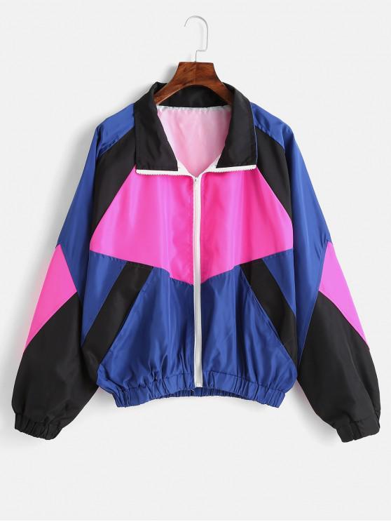 womens Color Block Oversized Windbreaker Jacket - MULTI S
