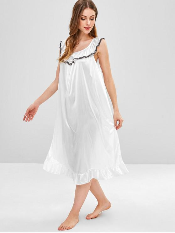 61e022c480 Vestido de pijama de satén con volantes y aplicación de encaje - Blanco  Talla única