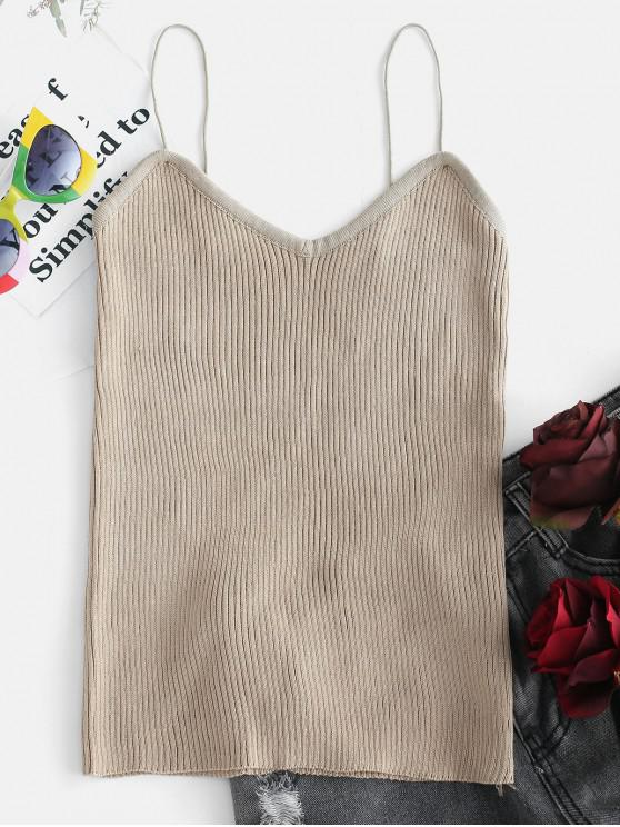 chic Ribbed Knit Camisole Top - KHAKI ONE SIZE