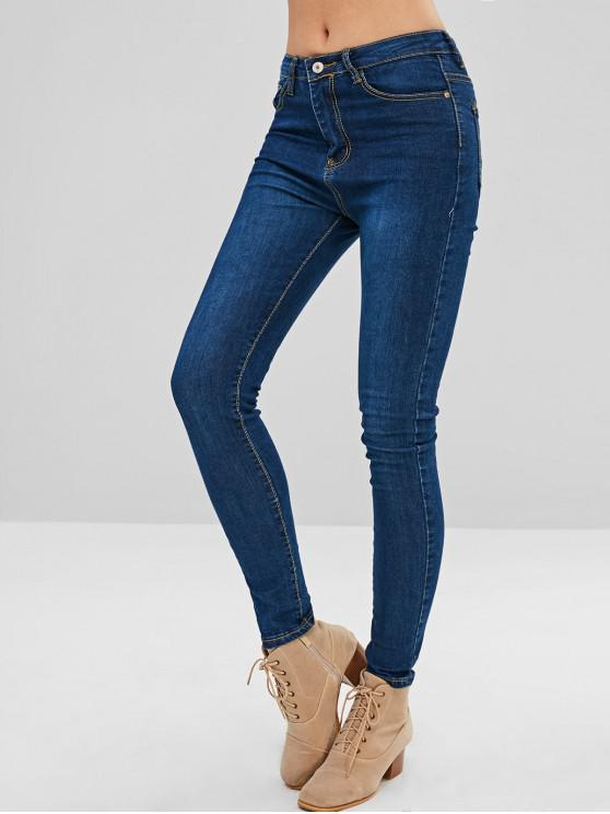 women Dark Wash Skinny Jeans - DENIM DARK BLUE L