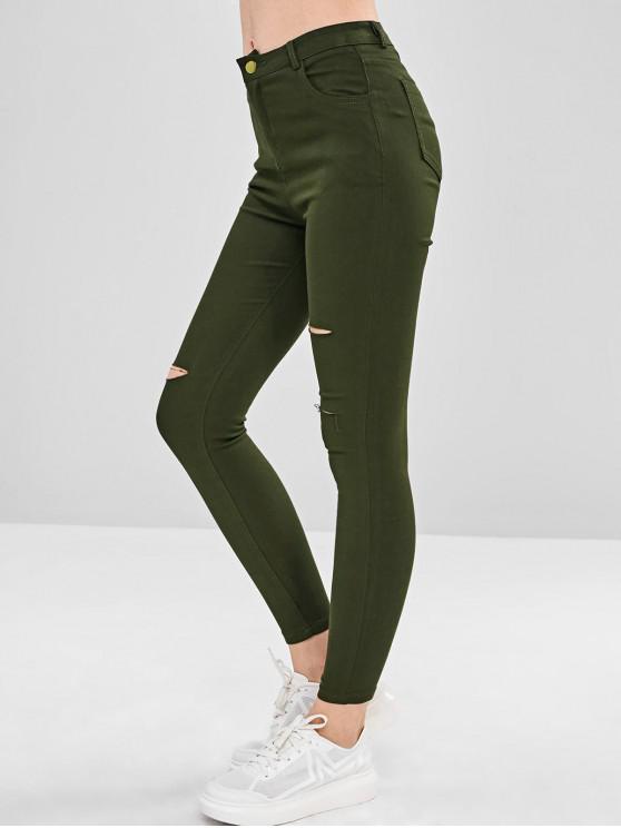 Calças Skinny Rasgadas - Cor de Verde da Avelã XL