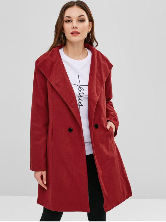 fashion Belted Double Breasted Woolen Coat - RED M