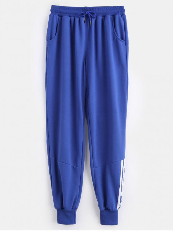 latest Striped Panel Sporty Pants - BLUEBERRY BLUE XL