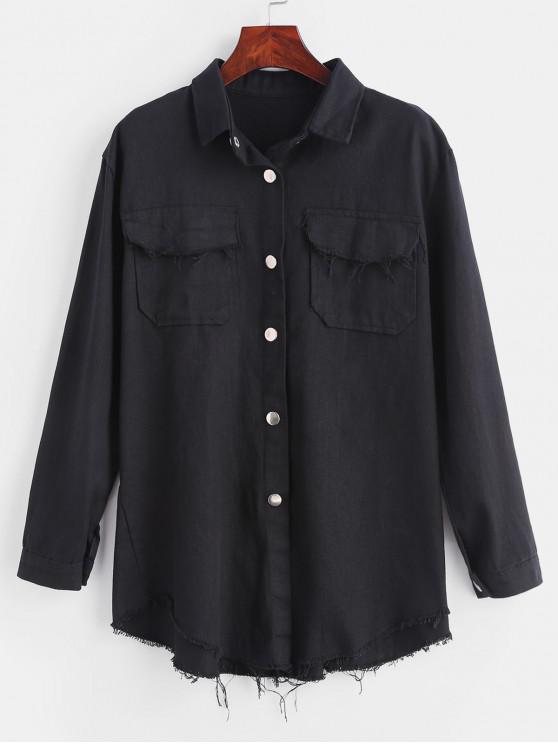 Veste Chemise Effrangée à Bouton-Pression - Noir Taille Unique