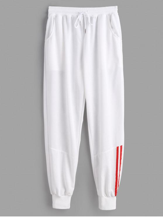 chic Striped Panel Sporty Pants - WHITE S