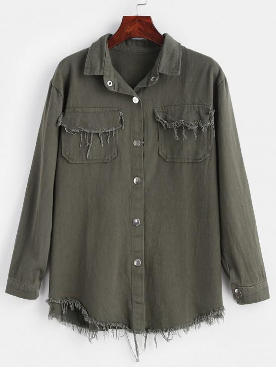 best Frayed Snap Button Shirt Jacket - CAMOUFLAGE GREEN ONE SIZE