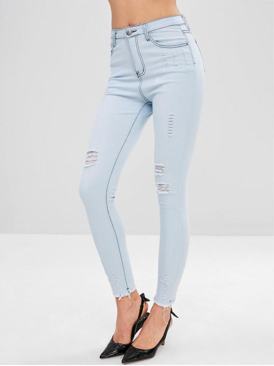 lady Ripped Skinny Faded Jeans - SEA BLUE L