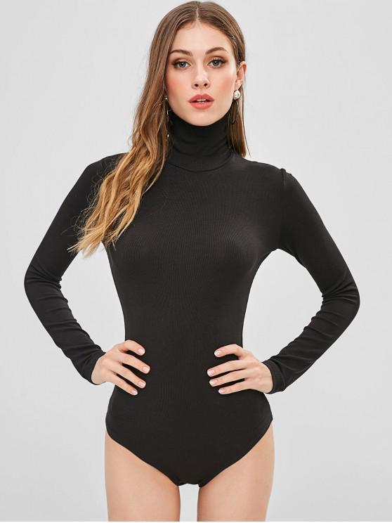 womens Long Sleeve High Collar Snap Crotch Bodysuit - BLACK M
