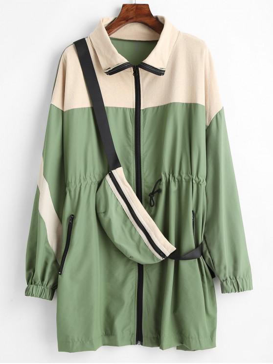 online Oversized Trench Coat With Belt Bag - DARK SEA GREEN ONE SIZE