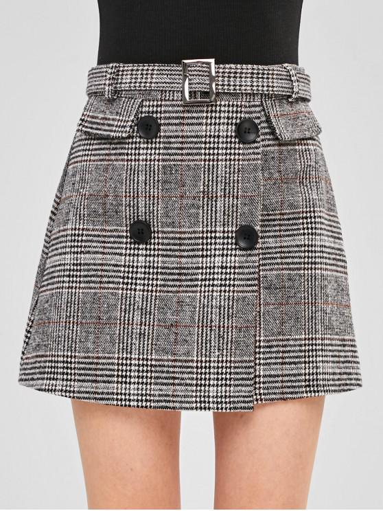hot A Line Belted Plaid Skirt - MULTI M