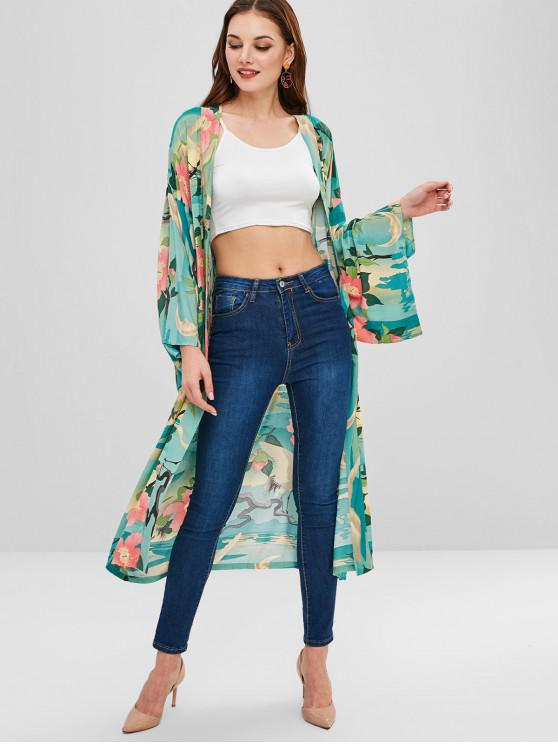 1330465fc7bf 28% OFF] 2019 Belted Kimono Floral Blouse In MULTI   ZAFUL