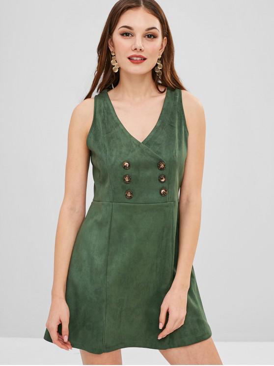 unique ZAFUL Plunge A Line Short Dress - DARK GREEN L