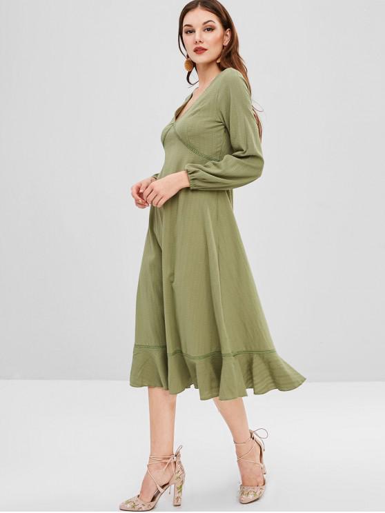 hot ZAFUL Midi Flounce Long Sleeve Dress - KHAKI XL