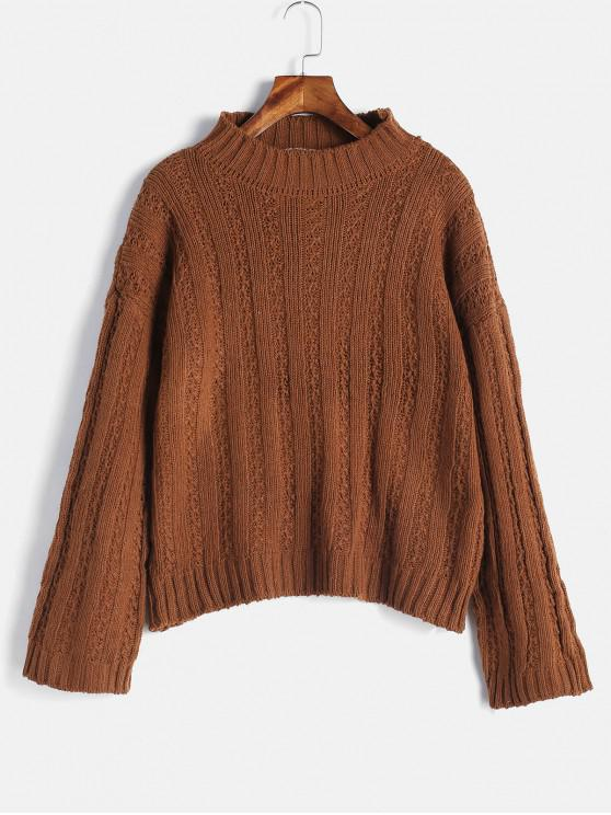 womens Drop Shoulder Wide Ribbed Boxy Sweater - BROWN ONE SIZE