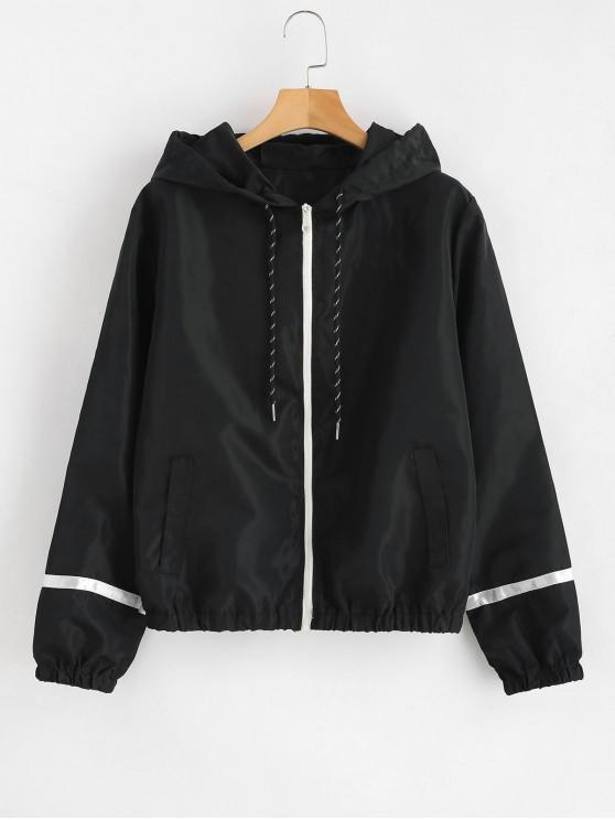 women Stripe Panel Windbreaker Jacket - BLACK S