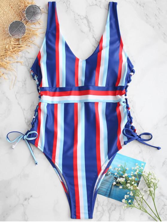 Costume Da Bagno A Righe Colorate Con Lacci Di ZAFUL - Multi Colori M