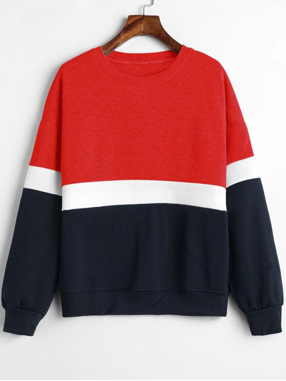 outfits Paneled Color Block Fleece Sweatshirt - RED M
