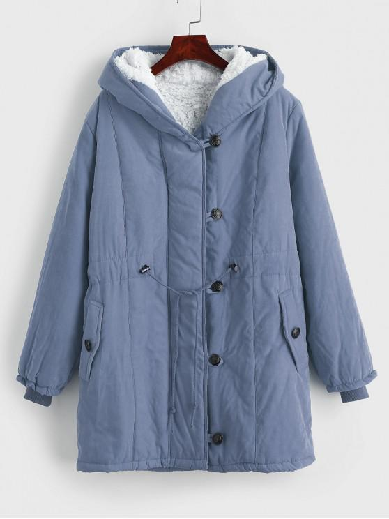 women's Faux Fur Lined Winter Parka Coat - BLUE GRAY XL