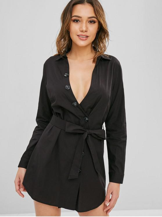 ZAFUL Button Up cinturón vestido informal - Negro L