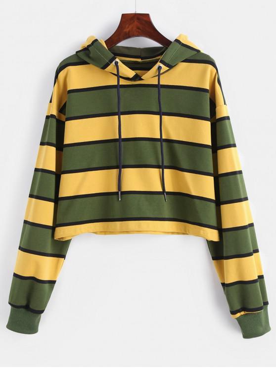 ZAFUL Stripe Crop Hoodie - Multi-B L