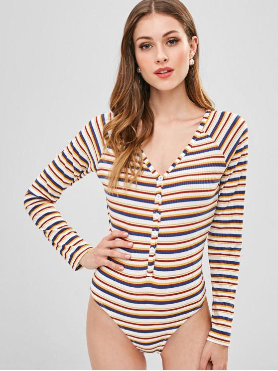 shop ZAFUL Half Buttoned Stripes Bodysuit - MULTI S