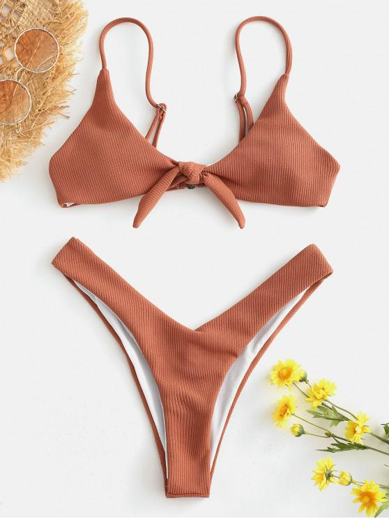 chic Knotted Ribbed High Cut Bikini Set - TIGER ORANGE M