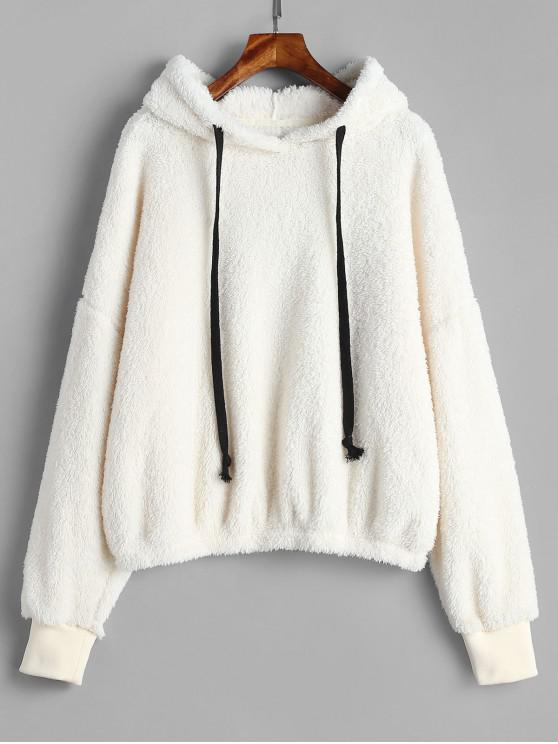 new ZAFUL Oversized Fleece Pullover Hoodie - WARM WHITE M