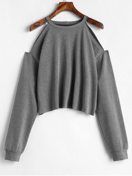 best ZAFUL Cropped Cut Out Cold Shoulder Sweatshirt - DARK GRAY L