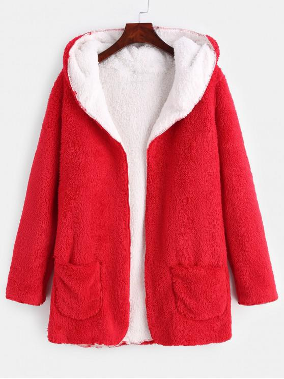 women Front Pocket Fluffy Coat - RED S