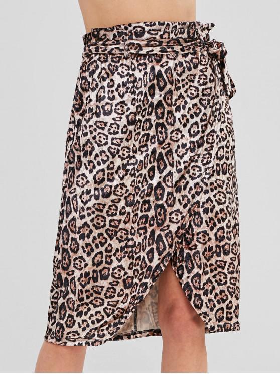 fashion ZAFUL Leopard Print Wrap Skirt - LEOPARD S