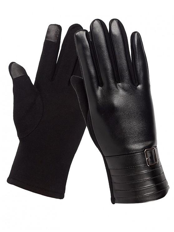 hot Unique Square Bucket Faux Leather Biker Gloves - BLACK