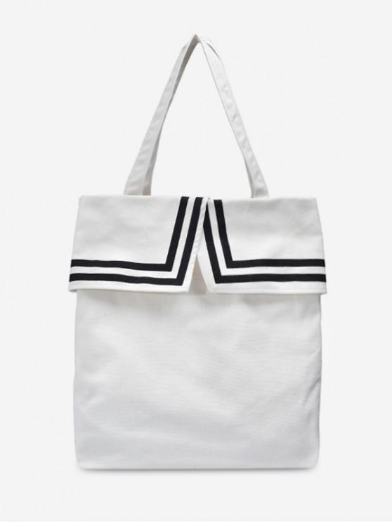 outfit Preppy Style Canvas Student Shoulder Bag - MILK WHITE