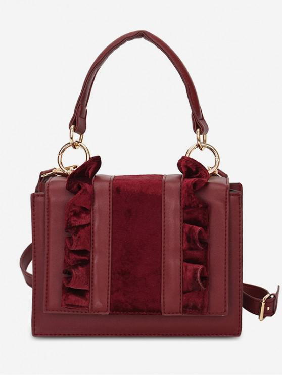 affordable Sueded Flower Side Design Tote Bag - RED WINE