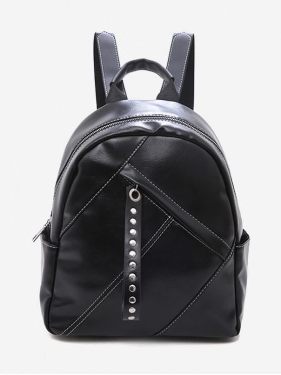 fancy Large Capacity Rivet Zipper School Backpack - BLACK