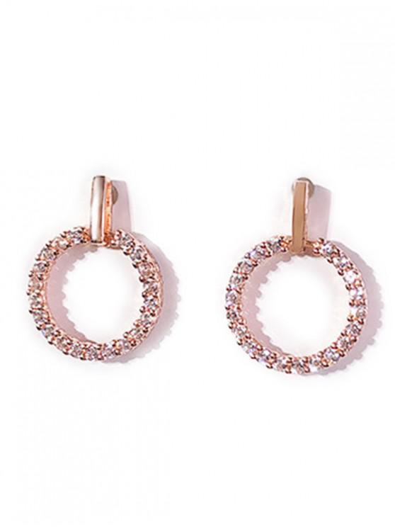 new Rhinestone Inlaid Round Shape Earrings - ROSE GOLD