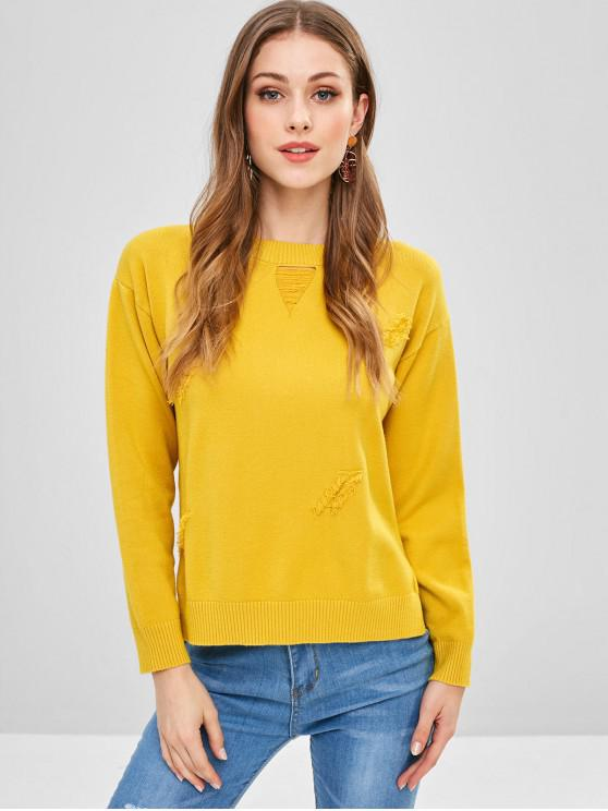 fancy Distressed Look Fringed Sweater - MUSTARD ONE SIZE
