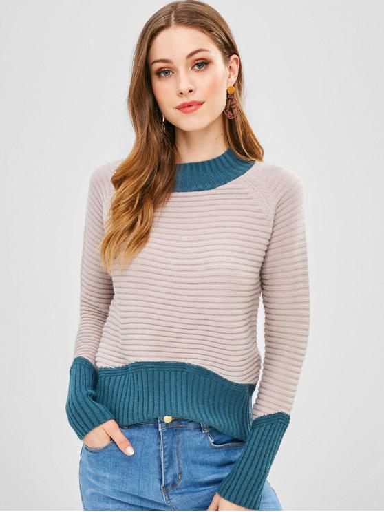 outfit Contrasting Ribbed Color Block Sweater - MULTI ONE SIZE