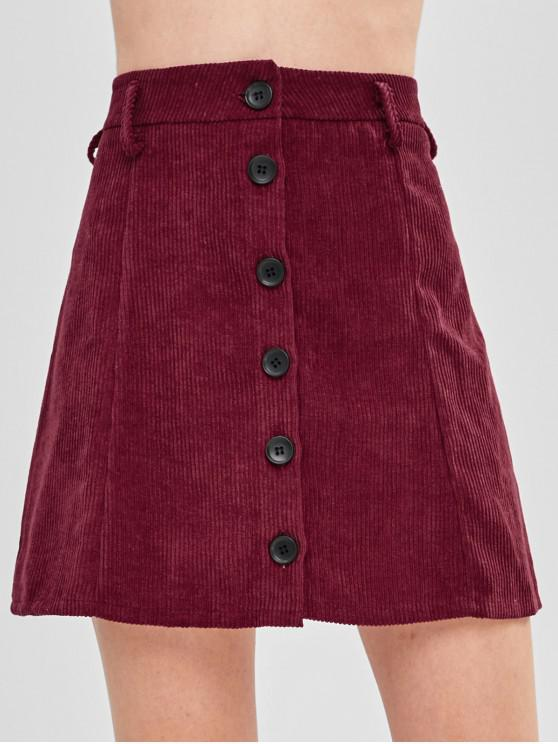 womens Button-up Corduroy Skirt - MAROON L