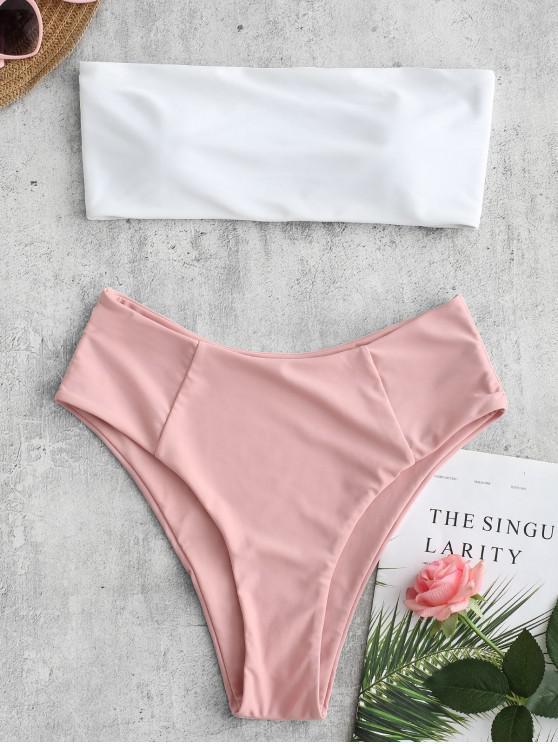 shop High Cut Two Tone Bandeau Bikini Set - PIG PINK M