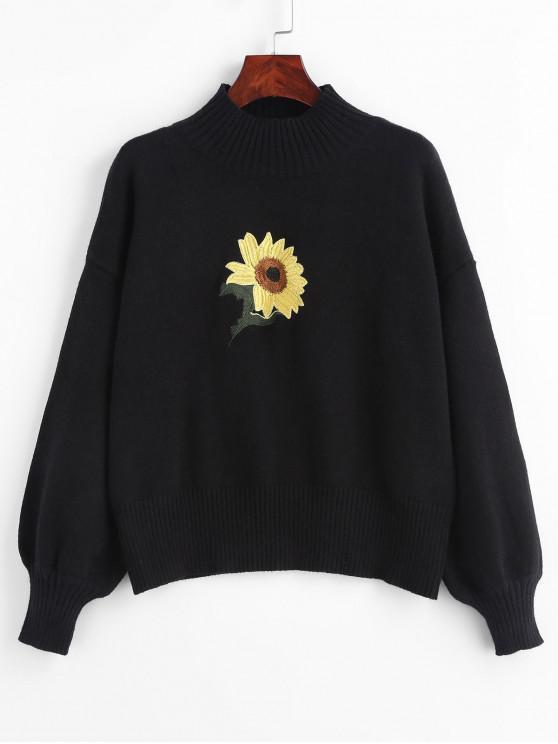 Suéter bordado con cuello simulado de girasol - Negro Talla única
