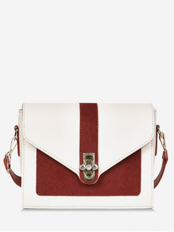 outfit Round Rhinestone Shape Color Block Crossbody Bag - LAVA RED