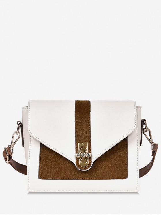 women's Round Rhinestone Shape Color Block Crossbody Bag - BROWN