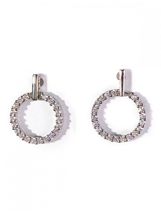 Pendientes Redondos con Incrustaciones de Diamantes de Imitación - Plata