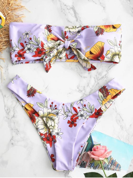 Bikini Bandeau con Nudo Floral ZAFUL - Color de malva M